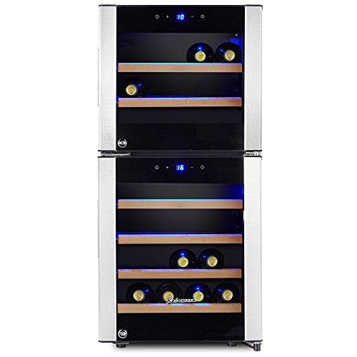 Kalamera KRC-33DZF Design Weinkühlschrank für bis zu 33 Flaschen (bis zu 310 mm Höhe),zwei Temperaturzonen ,5-18°C,(100 Liter, LED Bedienoberfläche, 2 Kühlzonen, Edelstahl)[Energieklasse B]
