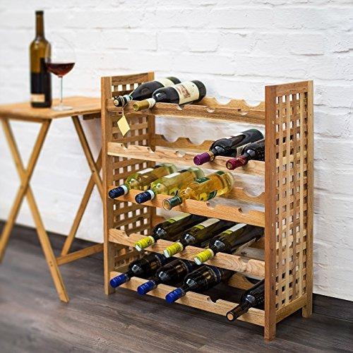 Relaxdays Weinregal Walnuss für 25 Flaschen HxBxT: 73 x 63 x 25 cm Flaschenregal Holz aus Walnussholz geölt mit 5 Etagen für je 5 Flaschen Weinflaschenregal, natur - 4