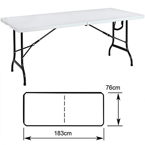 Tisch klappbar Kunststoff weiß 76×182 cm Partytisch Buffettisch Klapptisch - 4