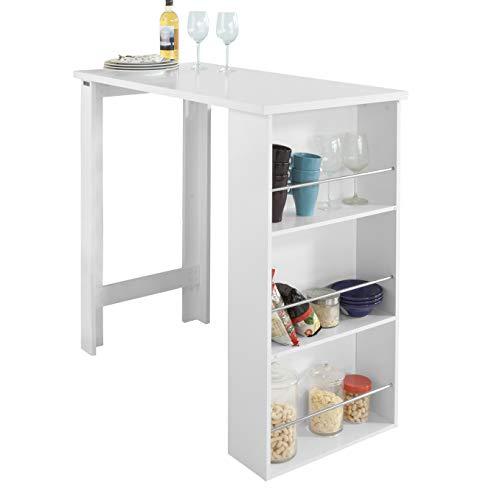 SoBuy® Bartisch, Beistelltisch, Stehtisch, Küchentheke, Küchenbartisch mit 3 Regalfächern, Tresen, weiß