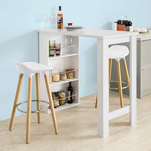 sobuy bartisch beistelltisch stehtisch k chentheke k chenbartisch mit 3 regalf chern. Black Bedroom Furniture Sets. Home Design Ideas