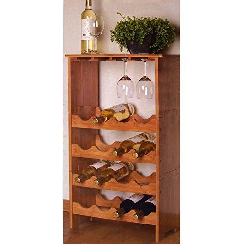 Weinregal Bambusregal für 16 Flaschen und 12 Gläser