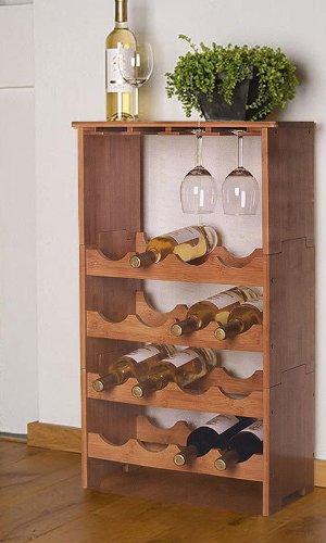 Weinregal Bambusregal für 16 Flaschen und 12 Gläser - 3